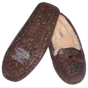 Ugg Rylee glittery brown leopard slippers